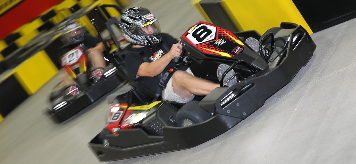 Teen go kart racers