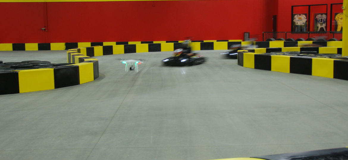 Drone view of indoor karting
